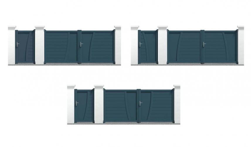 Portail alu et portillon alu Pernand composition 1, 2 et 3